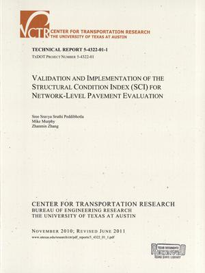 Primary view of object titled 'Validation and implementation of the structural condition index (SCI) for network-level pavement evaluation'.