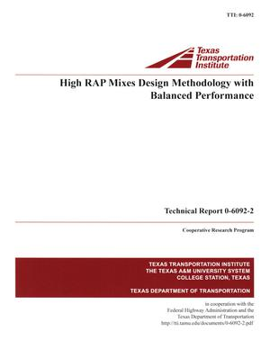 Primary view of object titled 'High RAP mixes design methodology with balanced performance'.