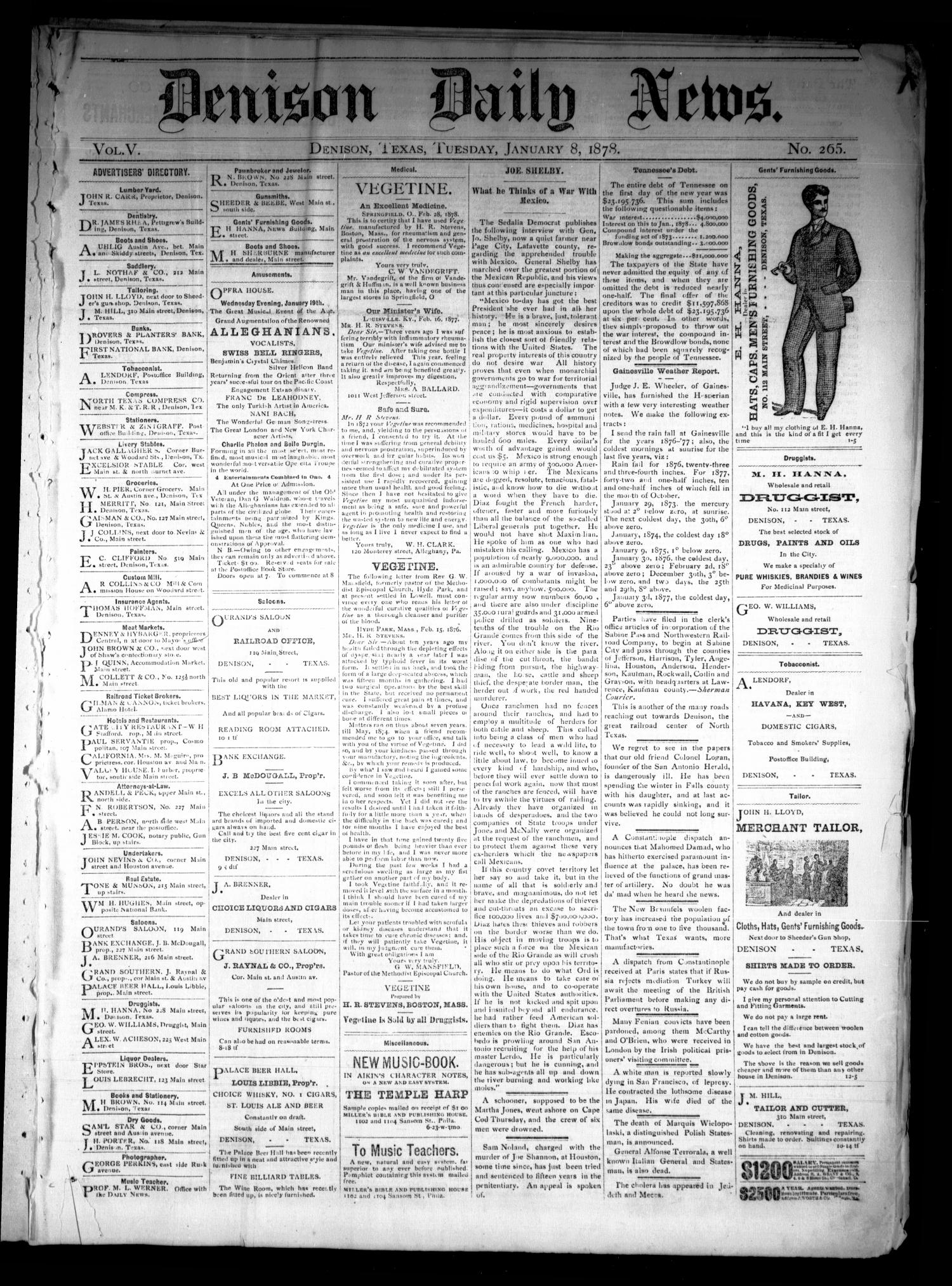 Denison Daily News. (Denison, Tex.), Vol. 5, No. 265, Ed. 1 Tuesday, January 8, 1878                                                                                                      [Sequence #]: 1 of 4