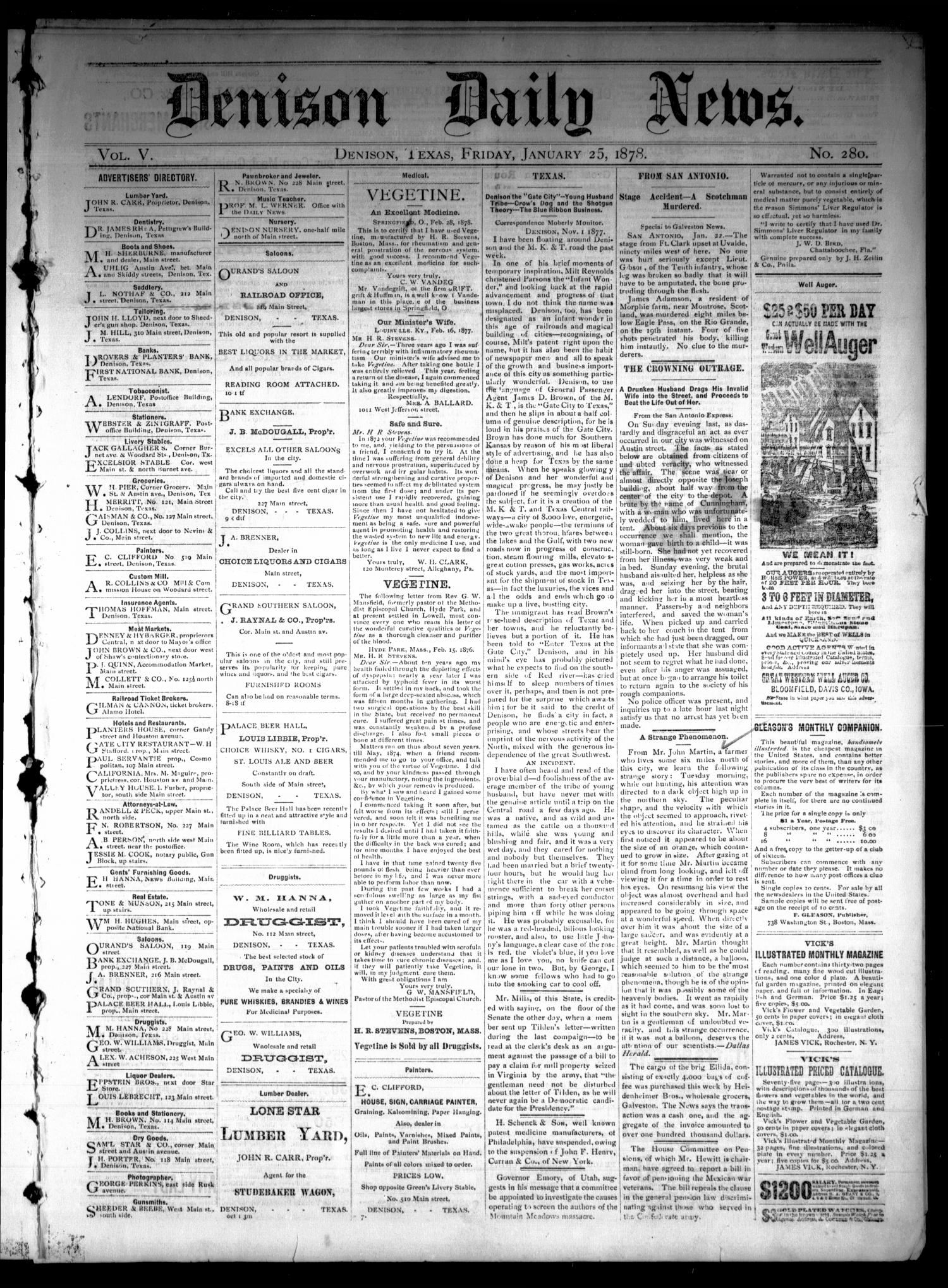 Denison Daily News. (Denison, Tex.), Vol. 5, No. 280, Ed. 1 Friday, January 25, 1878                                                                                                      [Sequence #]: 1 of 4