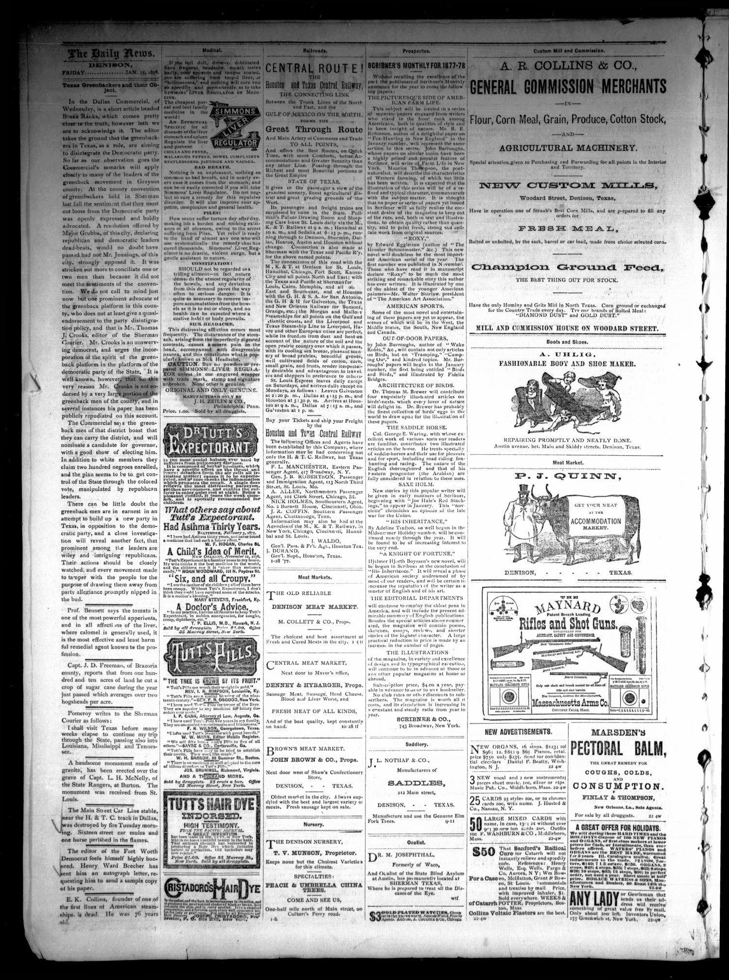 Denison Daily News. (Denison, Tex.), Vol. 5, No. 280, Ed. 1 Friday, January 25, 1878                                                                                                      [Sequence #]: 2 of 4