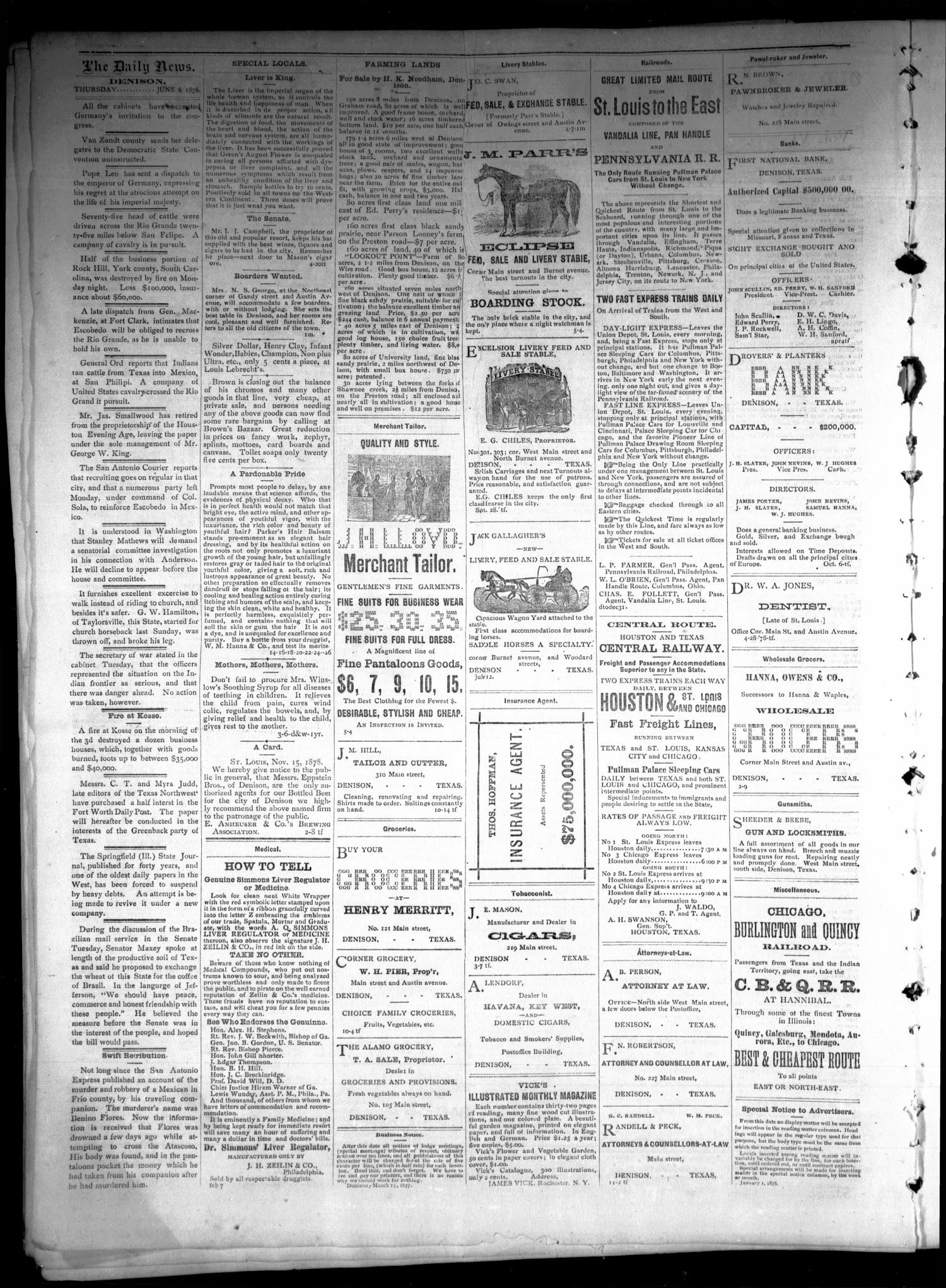 Denison Daily News. (Denison, Tex.), Vol. 6, No. 89, Ed. 1 Thursday, June 6, 1878                                                                                                      [Sequence #]: 2 of 4