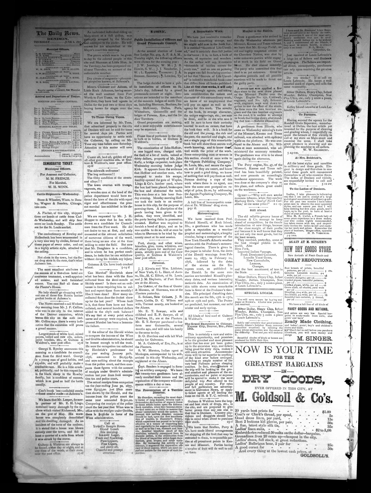 Denison Daily News. (Denison, Tex.), Vol. 6, No. 89, Ed. 1 Thursday, June 6, 1878                                                                                                      [Sequence #]: 4 of 4