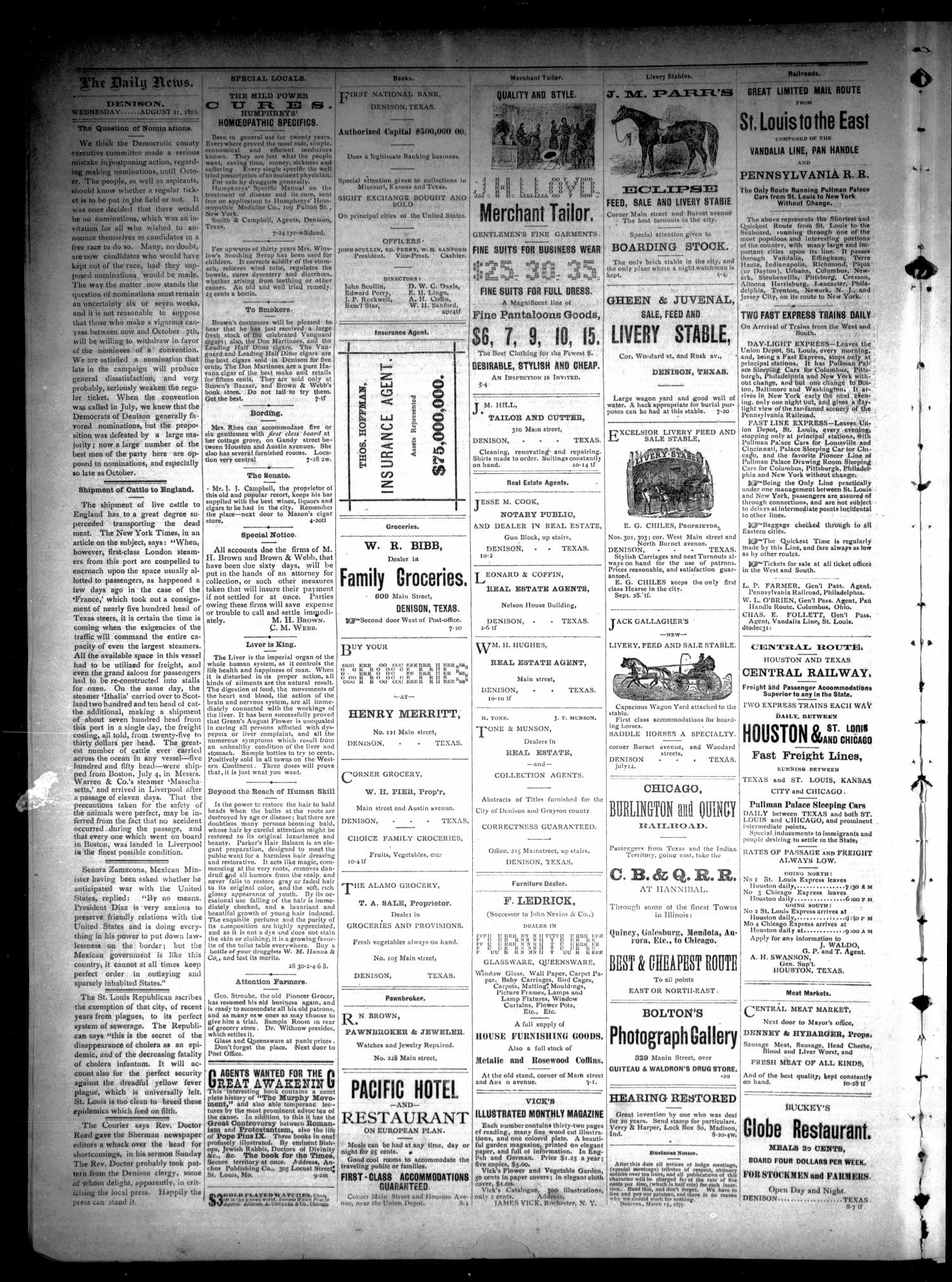 Denison Daily News. (Denison, Tex.), Vol. 6, No. 153, Ed. 1 Wednesday, August 21, 1878                                                                                                      [Sequence #]: 2 of 4