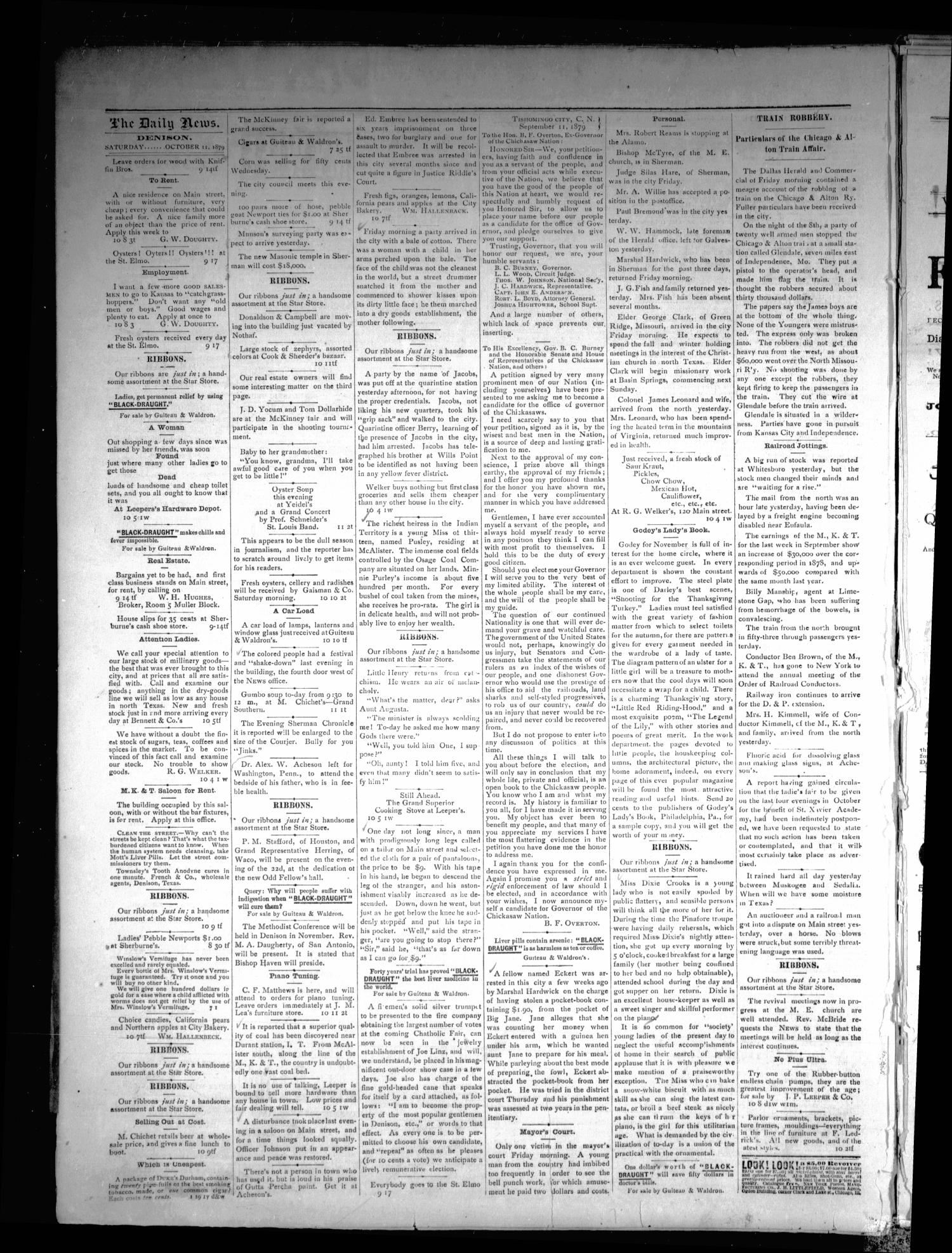 Denison Daily News. (Denison, Tex.), Vol. 7, No. 190, Ed. 1 Saturday, October 11, 1879                                                                                                      [Sequence #]: 4 of 4