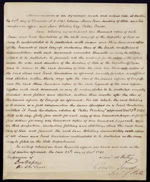 Primary view of object titled 'Memorandum of Agreement'.