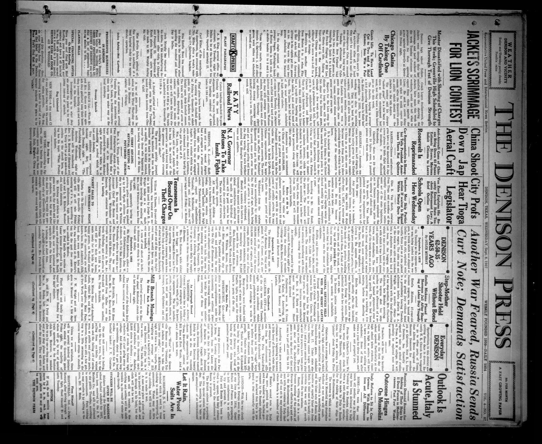 The Denison Press (Denison, Tex.), Vol. 4, No. 67, Ed. 1 Wednesday, September 8, 1937                                                                                                      [Sequence #]: 1 of 4