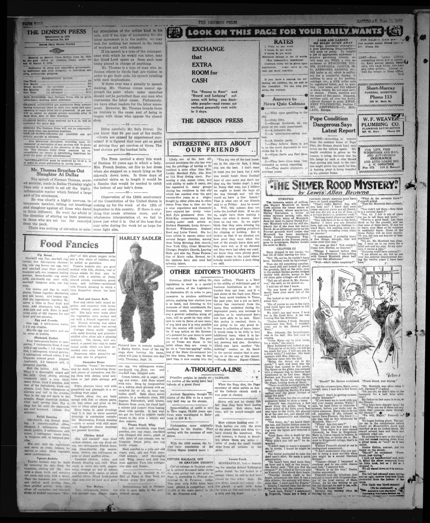The Denison Press (Denison, Tex.), Vol. 4, No. 70, Ed. 1 Saturday, September 11, 1937                                                                                                      [Sequence #]: 2 of 4