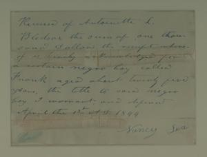 Primary view of Bill of sale for slave
