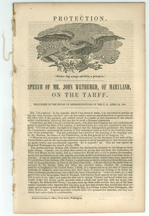 "Primary view of object titled '""Speech of Mr. John Wethered, of Maryland, on the Tariff""'."