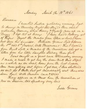 Primary view of object titled '[Letter from Jesse Grimes to his wife Rosanna Grimes, March 18, 1861]'.