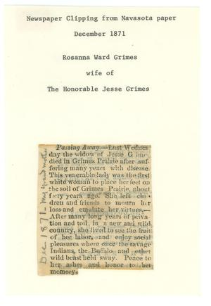 Primary view of object titled '[Obituary of Rosanna Ward Grimes, December 1871]'.