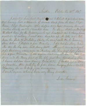 Primary view of object titled '[Letter to Jesse Grimes, October 31, 1857]'.