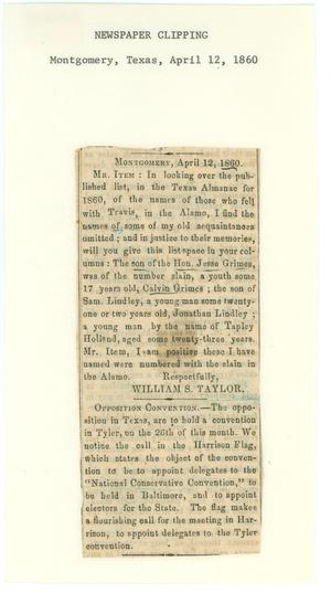 Primary view of object titled '[Newspaper Clipping about Alamo participants, April 12, 1860]'.