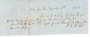 Primary view of object titled '[Receipt from O.G. Ross to Jesse Grimes, 1853]'.