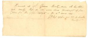 Primary view of object titled '[Receipt from J.W. Cox to Jesse Grimes for property tax, 1849]'.