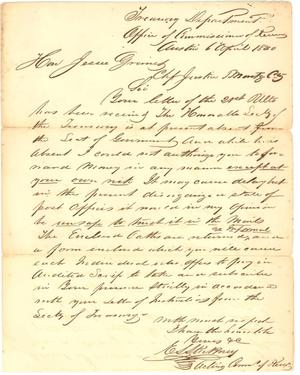 Primary view of object titled '[Letter from E.L. Stickney of Treasury Dept. to Jesse Grimes, April 6, 1840]'.