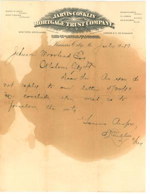 [Letter to Johnson Moorhead of Oklahoma City, from Jarvis-Conklin Mortgage Trust Co]