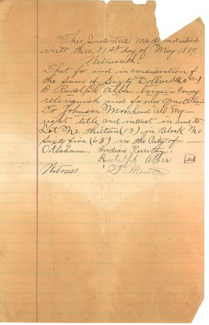 [Deed from Rudolph Alber to Johnson Moorhead]