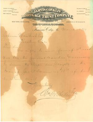 Primary view of object titled '[Letter to Johnson Moorhead of Decatur, CO from Jarvis-Conklin Mortgage Trust Co. ]'.