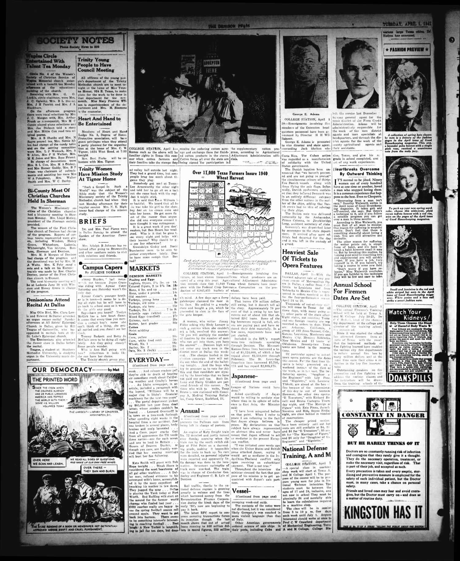 The Denison Press (Denison, Tex.), Vol. 7, No. 237, Ed. 1 Tuesday, April 1, 1941                                                                                                      [Sequence #]: 4 of 4