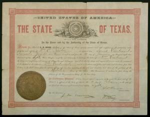 Primary view of object titled '[Appointment of William C. Preston as Second Lieutenant in the Navasota Guards, 1888]'.