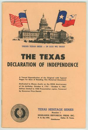 "Primary view of object titled '""The Texas Declaration of Independence""'."