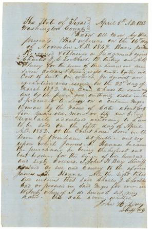 Primary view of object titled '[Legal Statement of Sale for Slave]'.