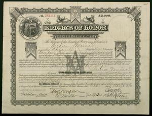 Primary view of object titled 'Kinghts of Honor Benefit Certificate'.