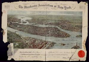 Primary view of object titled '[Membership certificate of Alexander Simon as a member of The Merchants' Association of New York]'.