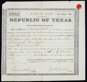 Primary view of object titled '[Claim certificate: Nicholas M. Smith]'.