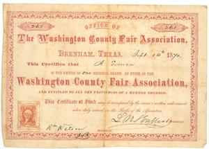 Primary view of object titled '[Certificate of stock in the Washington County Fair Association of Brenham, 1870]'.