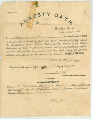 Primary view of object titled '[Oath of Amnesty claiming allegiance to the United States Constitution, 1865]'.