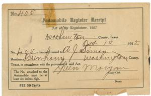 Primary view of object titled '[Automobile Register Receipt, 1915]'.