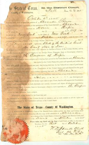 Primary view of object titled '[Petition by Alexander Simon to the District Court for naturalization, 1855]'.