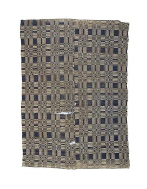 Primary view of object titled 'Blue and white coverlet'.