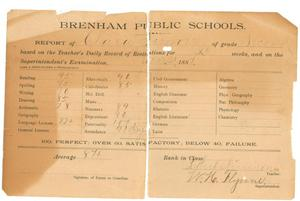 Primary view of object titled '[Report card of Clara Simon, 1887]'.