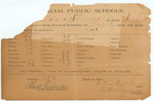 Primary view of object titled '[Report card of Clara Simon, 1886]'.