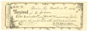 Primary view of object titled '[Receipt to Simon from C.B. Breedlove, 1886]'.