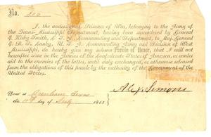 "Primary view of object titled '[Sworn statement by Simon pledging his ""Parole of Honor"" not to serve in the C.S.A., 1865]'."