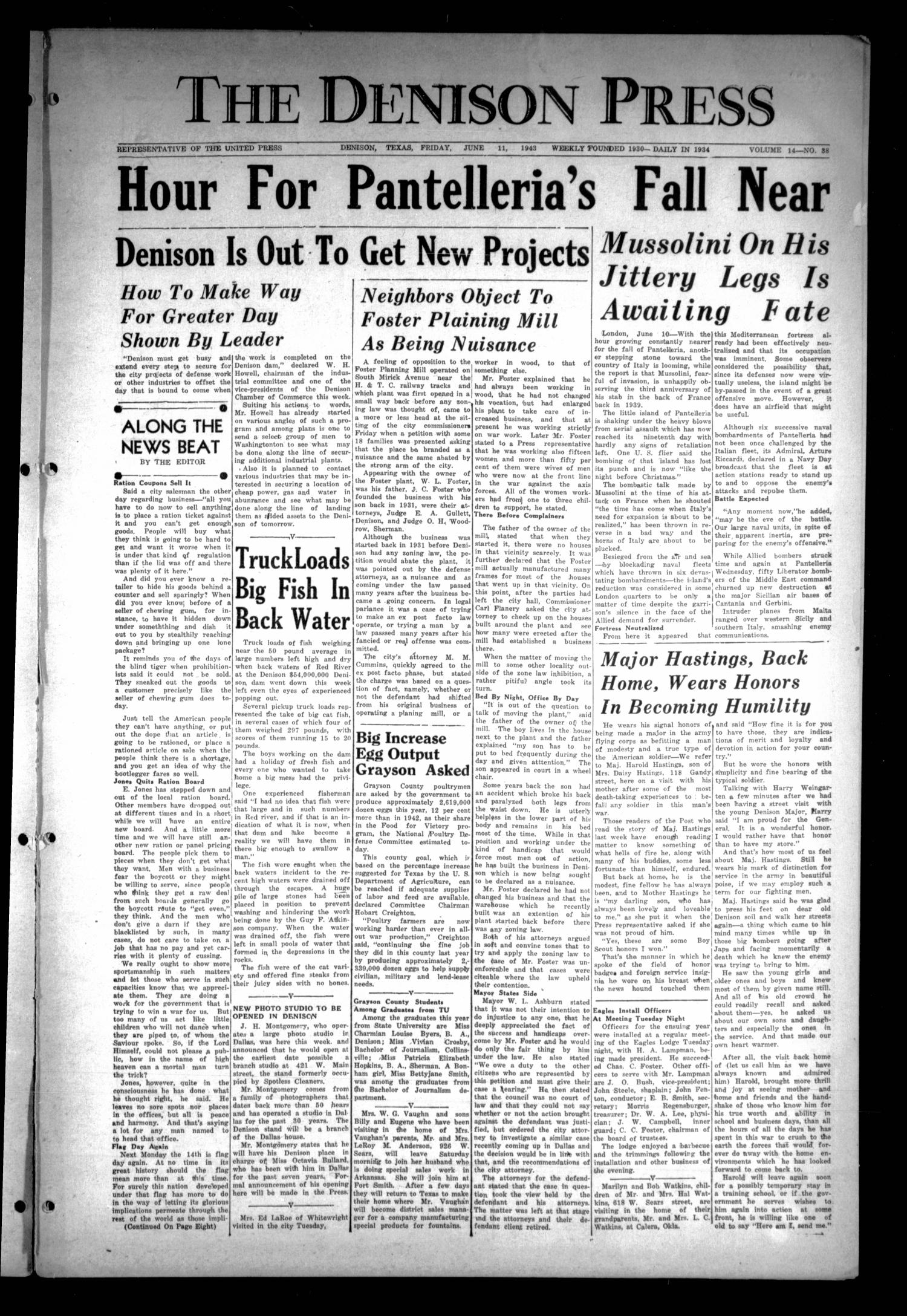 The Denison Press (Denison, Tex.), Vol. 14, No. 38, Ed. 1 Friday, June 11, 1943                                                                                                      [Sequence #]: 1 of 8