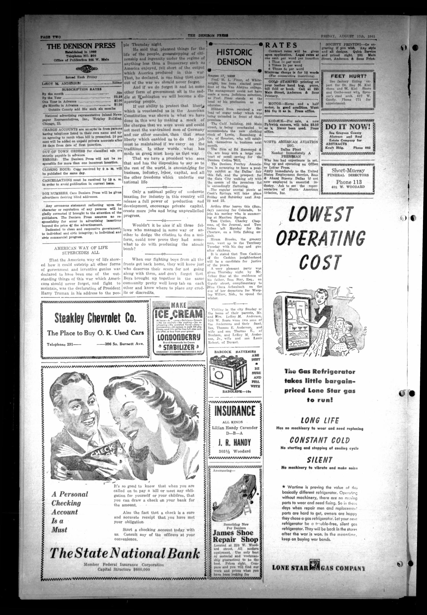 The Denison Press (Denison, Tex.), Vol. 17, No. 9, Ed. 1 Friday, August 17, 1945                                                                                                      [Sequence #]: 2 of 4