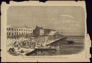 "Primary view of object titled '""Rebel Attack Upon the 43rd Massachusetts Volunteers at Galveston, Texas""'."