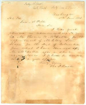 Primary view of object titled '[Letter to James K. Polk from Thomas J. Rusk, June 5, 1846]'.