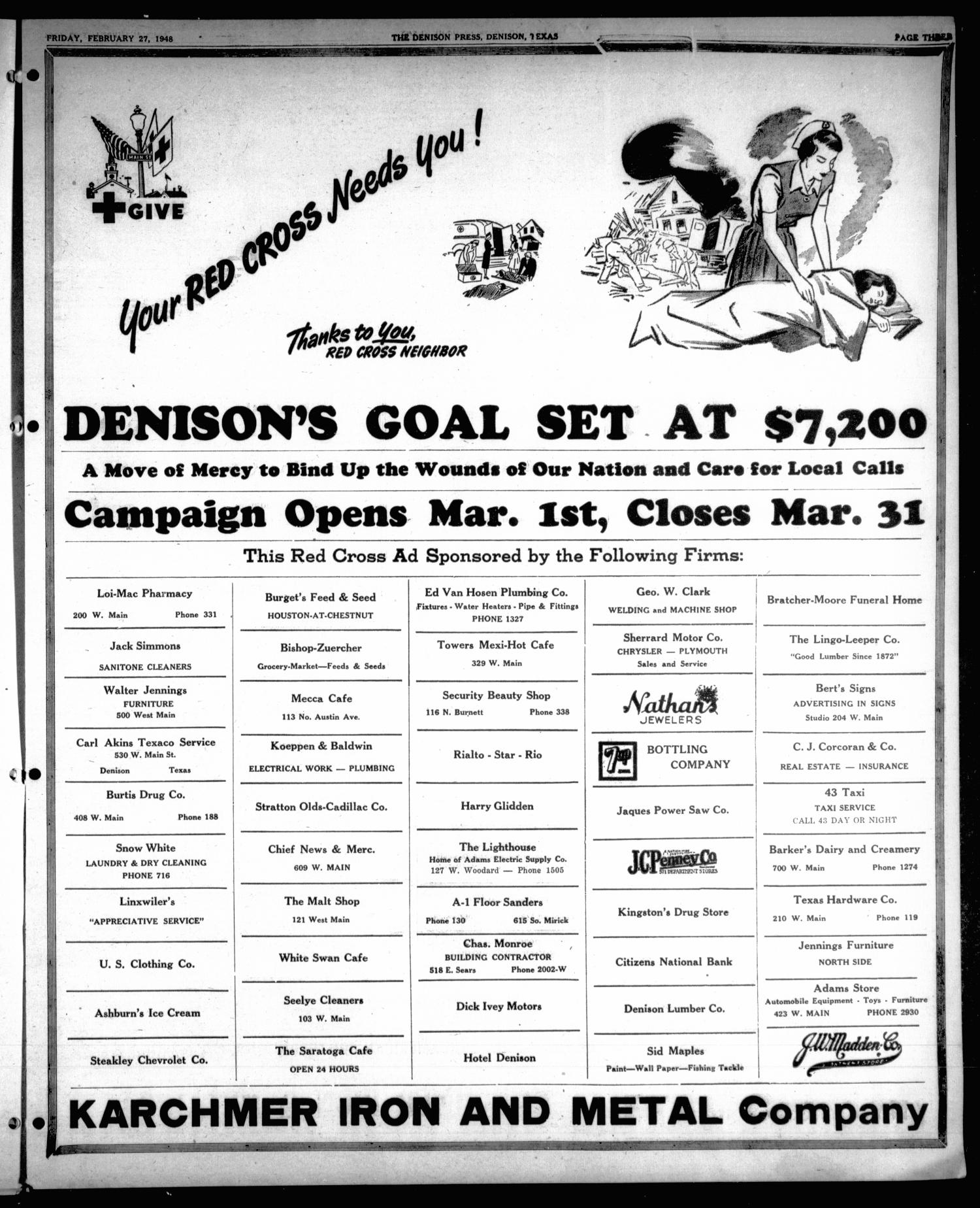 The Denison Press (Denison, Tex.), Vol. 19, No. 36, Ed. 1 Friday, February 27, 1948 - Page 3 of 6 - The Portal to Texas History