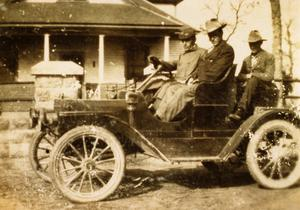 C. P. Schulze, Sr., Otis Brown, and Fred Joffre in Schulze's Car