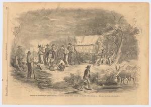 "Primary view of object titled '""Bivouac of Confederate troops on the Las Moras, Texas, with stolen U.S. wagons, etc.""'."