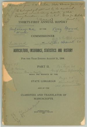 "Primary view of object titled '""Report of the Commissioner of Agriculture, Insurance, Statistics, and History""'."