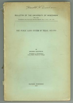 "Primary view of object titled '""The Public Land System of Texas, 1823-1910""'."