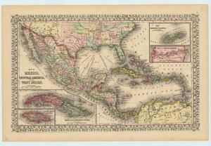 "Primary view of object titled '""Map of Mexico, Central America, and the West Indies""'."